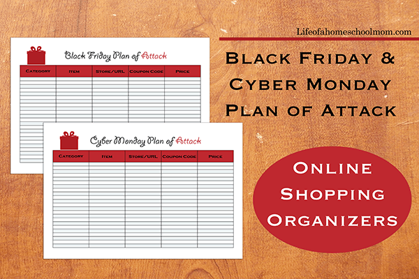 Black Friday And Cyber Monday Plan Of Attack Free Shopping Planners Mom For All Seasons