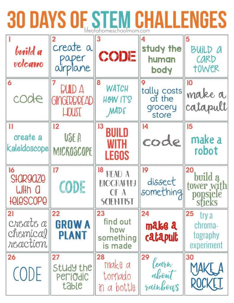 30 Days Of Stem Challenges Free Printable Mom For All Seasons