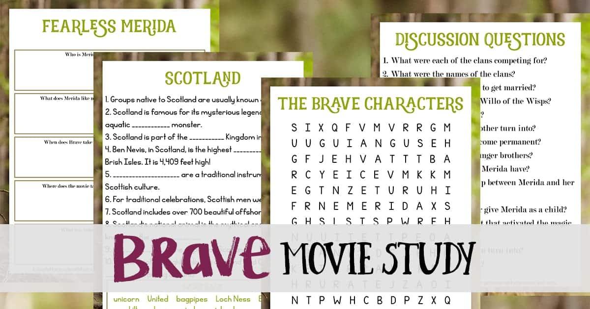 Brave Movie Study Freebie Mom For All Seasons