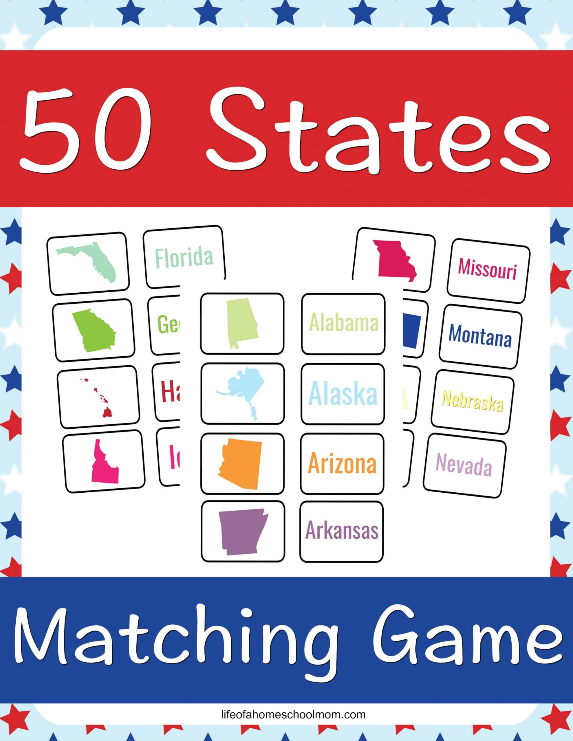 Teach your child all about the 50 states using this 50 States matching game printable!