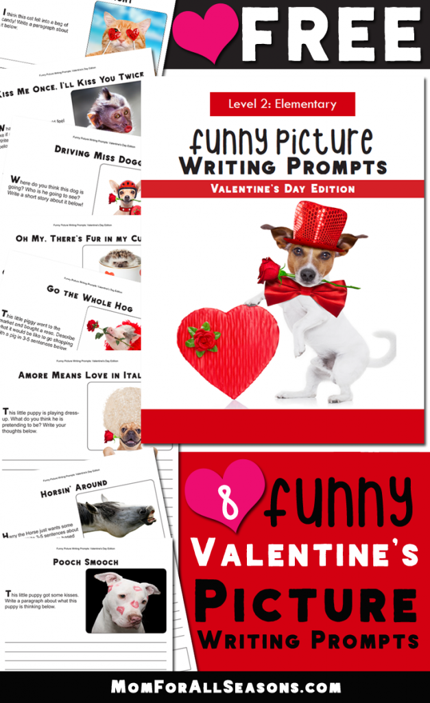 Funny Photo Valentine's Day Writing Prompts- Fun Freebie for Elementary Grades