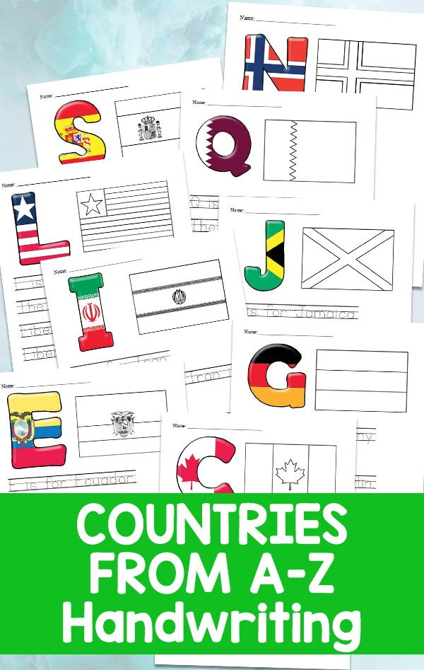 Countries Handwriting A - Z Printable Worksheets - Mom For All Seasons